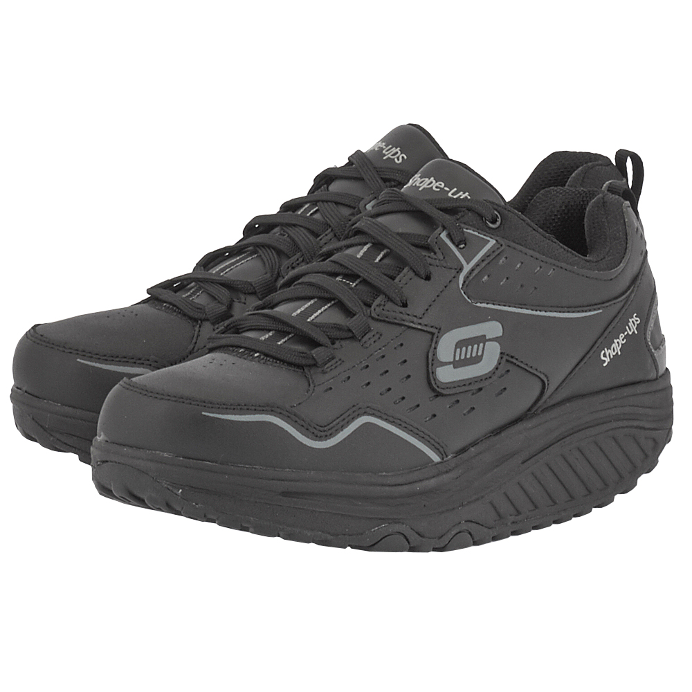 Skechers – Skechers Qtr Cut-Out Leather Shape-ups 57001BBK – ΜΑΥΡΟ