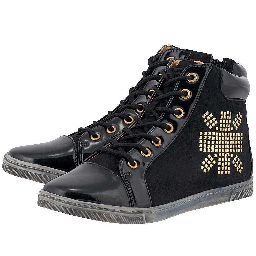 Pearlz - Pearlz 580-032PE - ΜΑΥΡΟ γυναικεια   sneakers   mid cut