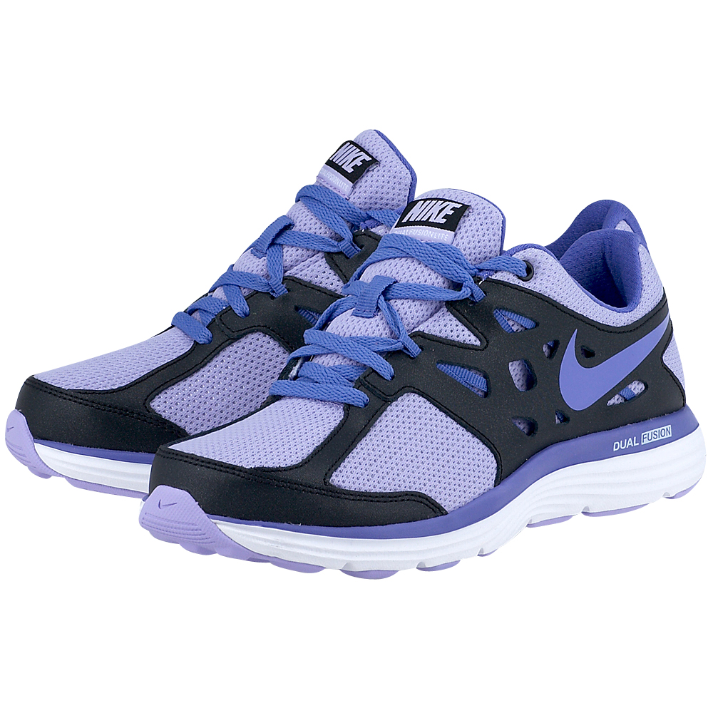 Nike  Dual Fusion Lite 5992955013 ΜΑΥΡΟ/ΜΩΒ Παιδικά αθλητικά παπούτσια της Nike, σε μαύρη με μωβ απόχρωση, από ένα δίχτυ mesh και συνθετικό δέρμα, για καλύτερη εφαρμογή και άνεση, σε συνδυ