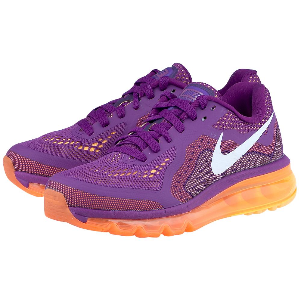 Nike  Air Max 2014 6210785013 ΜΩΒ Γυναικεία running παπούτσια από την Nike, σε μωβ απόχρωση, από mesh και λεπτομέρειες από δέρμα για καλύτερη κυκλοφορία του αέρα και αντοχή και με υ
