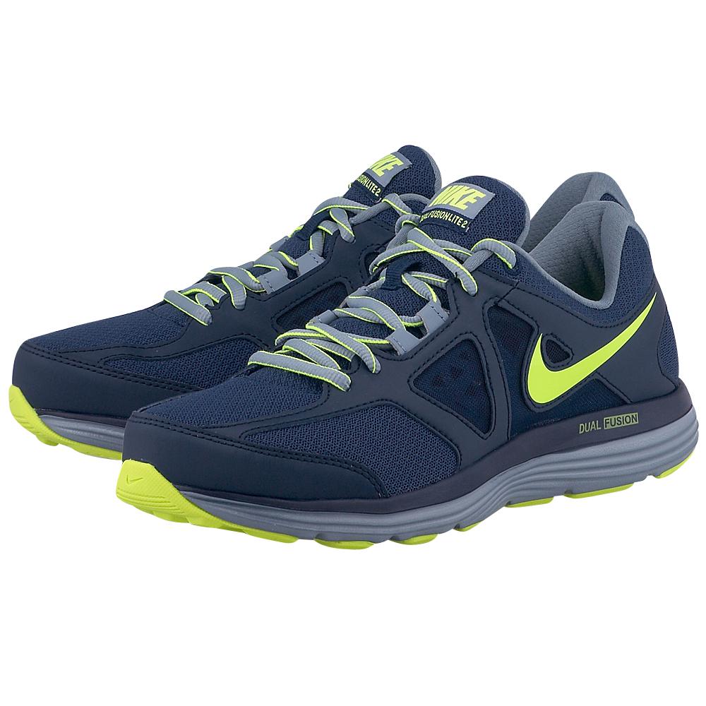 Nike  Dual Fusion Lite 2 6428214074 ΜΠΛΕ ΣΚΟΥΡΟ Ανδρικά αθλητικά παπούτσια running της Nike, σε μπλε σκούρα απόχρωση, από ένα δίχτυ mesh και συνθετικό δέρμα για άνετη στήριξη και καλύτερη αναπνο