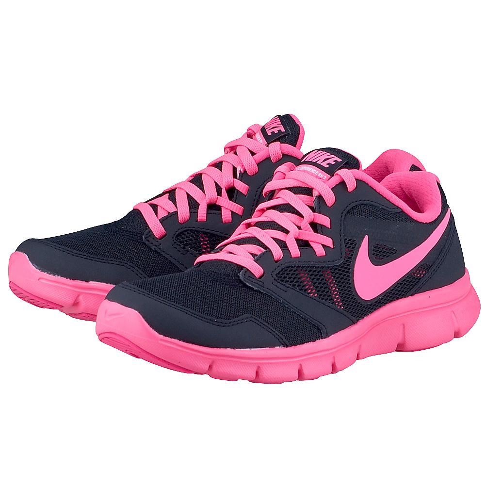 Nike  Flex Experience 3 6536980013 ΜΑΥΡΟ/ΦΟΥΞΙΑ Γυναικεία αθλητικά παπούτσια running της Nike, σε μαύρη με φ&o
