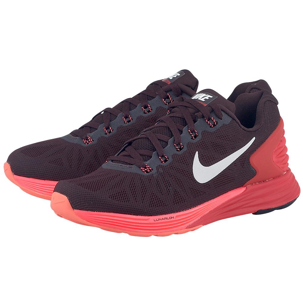 Nike - Nike Lunar Glide 6 654434601-3 - ΚΑΦΕ/ΚΟΚΚΙΝΟ