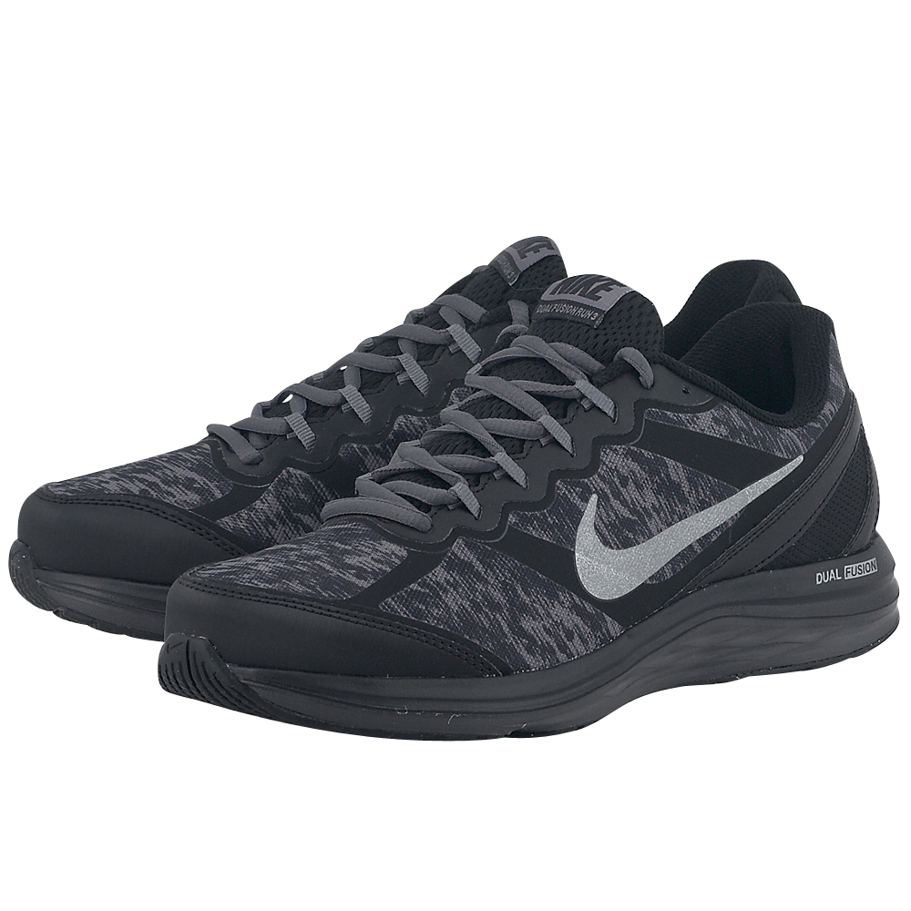 Nike  Dual Fusion Run 3 Flash 6849890074 ΜΑΥΡΟ Ανδρικά running αθλητικά παπούτσια της Nike, σε μαύρη απόχρωση, από ιδιαίτερης υφής mesh για καλύτερη αναπνοή, με λεπτομέρειες συνθετικού δέρματο