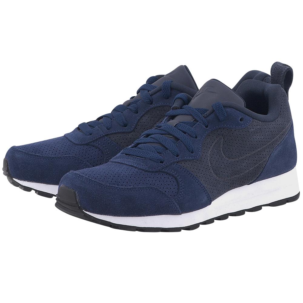 Nike - Nike Md Runner2 Leather Prem 819834400-4 - ΜΠΛΕ ΣΚΟΥΡΟ