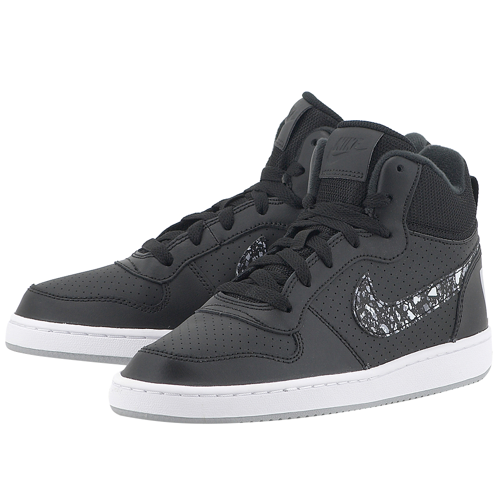 Nike - Nike Court Borough Mid Print (GS) 845102-002 - ΜΑΥΡΟ