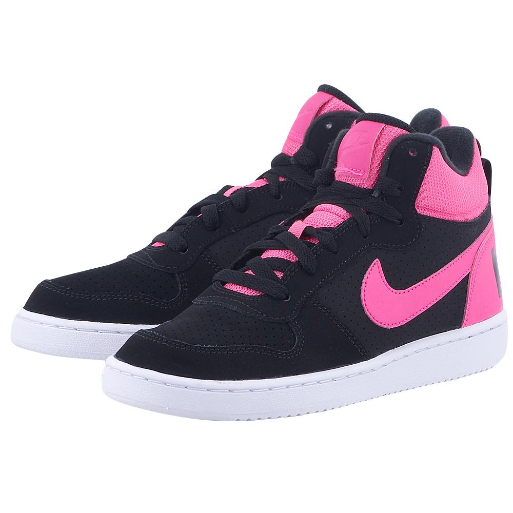 Nike - Nike Court Borough Mid 845107006-3 - ΜΑΥΡΟ/ΦΟΥΞΙΑ