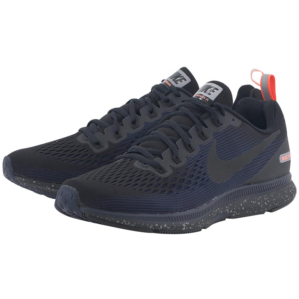 Nike - Nike Men's Air Zoom Pegasus 34 Shield 907327-001 - ΜΑΥΡΟ/ΜΠΛΕ