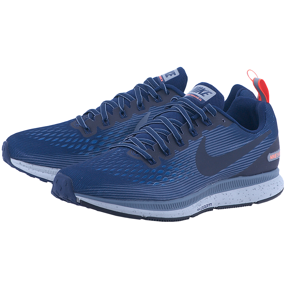 Nike – Nike Men's Air Zoom Pegasus 34 Shield 907327-400 – ΜΠΛΕ ΣΚΟΥΡΟ