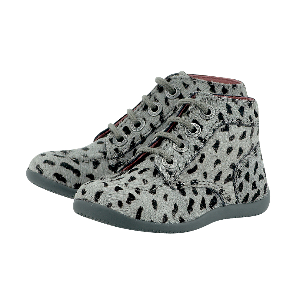 Kickers - Kickers KIC446822-10 - ΓΚΡΙ/ΛΕΟΠΑΡ outlet   παιδικα   βρεφικα   μποτάκια