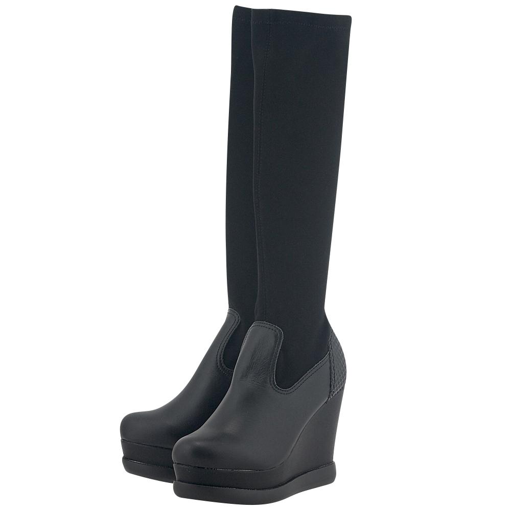 Leeroy - Leeroy L302 - ΜΑΥΡΟ γυναικεια   μπότες   πλατφόρμες