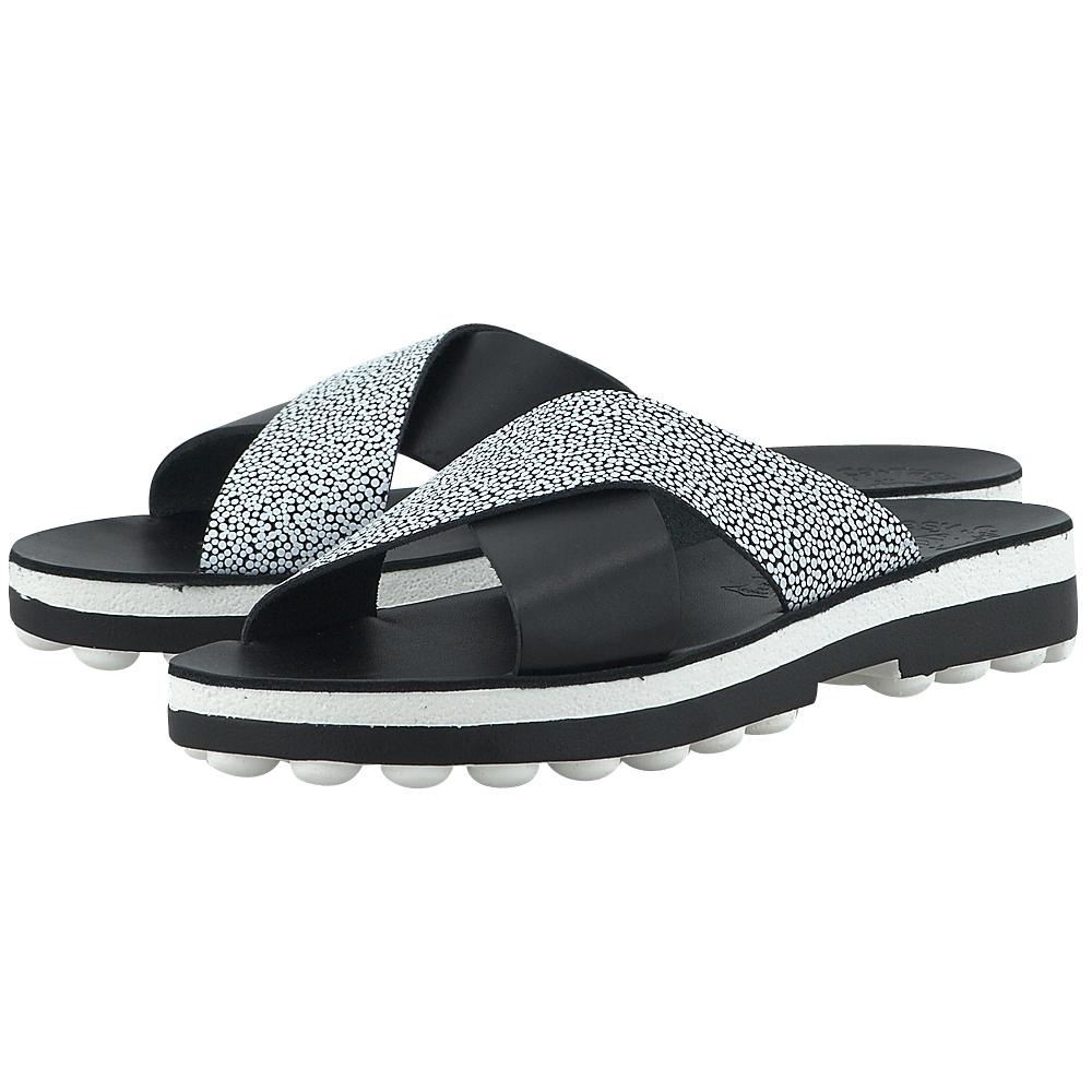 Fantasy Sandals - Fantasy Sandals S-9008 - ΜΑΥΡΟ/ΛΕΥΚΟ γυναικεια   σανδάλια