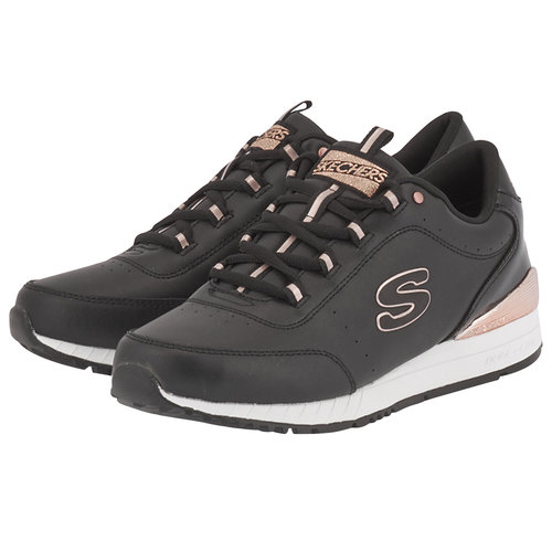 Skechers Leather Round Lace Up - Sneakers - ΜΑΥΡΟ