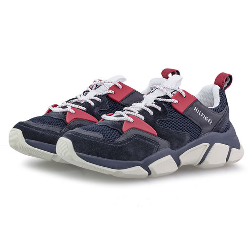 Tommy Hilfiger Chunky Material Mix - Sneakers - ΜΠΛΕ ΣΚΟΥΡΟ