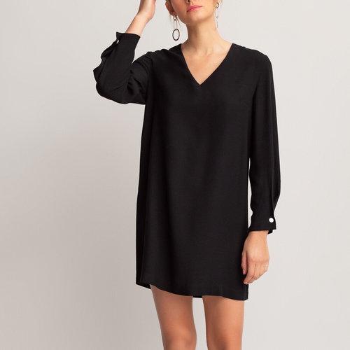 Κοντό μακρυμάνικο φόρεμα - Φορέματα - ΜΑΥΡΟ