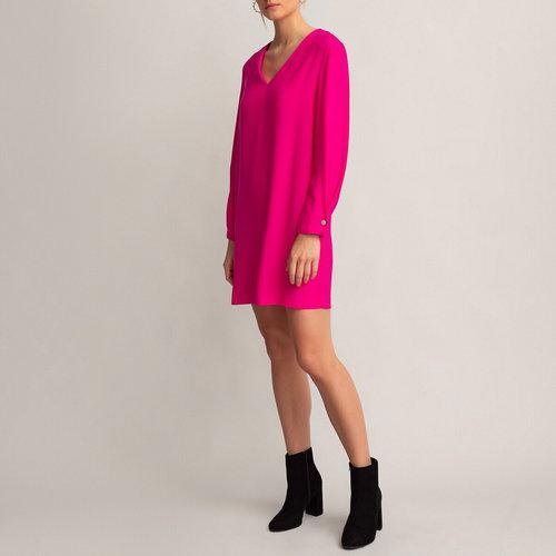 Κοντό μακρυμάνικο φόρεμα - Φορέματα - ΦΟΥΞΙΑ ΡΟΖ