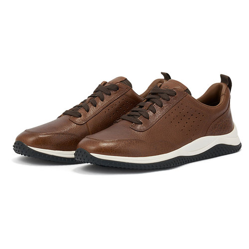 Clarks Puxton Lace Tan Leather - Sneakers - TAN