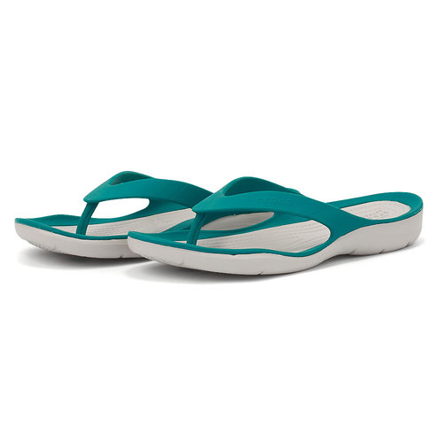 Crocs Swiftwater Flip W - Σαγιονάρες - JUNIPER/PEARL WHITE
