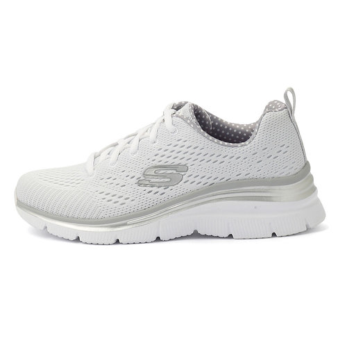 Skechers Knit Lace-Up Wedge W - Αθλητικά - ΛΕΥΚΟ/ΓΚΡΙ