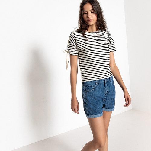 Μπλούζα με δέσιμο στα μανίκια - Μπλούζες & Πουκάμισα - ΜΑΥΡΟ ΡΙΓΕ