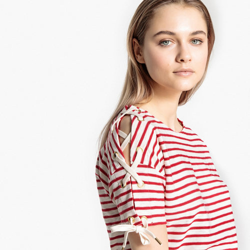 Μπλούζα με δέσιμο στα μανίκια - Μπλούζες & Πουκάμισα - STRIPED RED