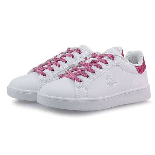 Benetton Triple Glit Fat - Sneakers - WHITE/FUCSIA