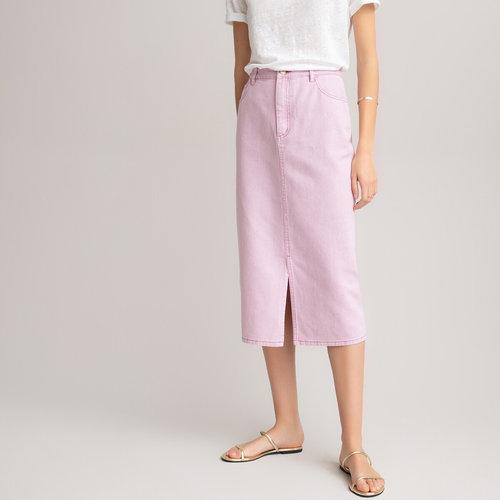 Μίντι ίσια φούστα - Φούστες - PURPLE/MAUVE