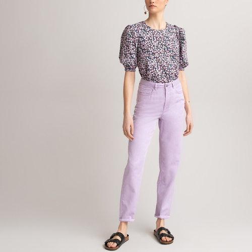 Κοντομάνικη μπλούζα με στρογγυλή λαιμόκοψη - Μπλούζες & Πουκάμισα - ΜΟΒ ΤΥΠΩΜΑ