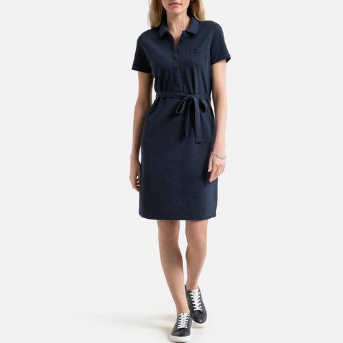 Κοντομάνικο πικέ φόρεμα - Φορέματα - ΣΚΟΥΡΟ ΜΠΛΕ