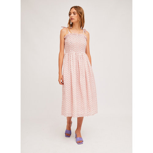 Μίντι φόρεμα με τιράντες - Φορέματα - ΑΣΠΡΟ/ΚΟΚΚΙΝΟ