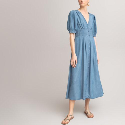 Μακρύ κοντομάνικο φόρεμα - Φορέματα - ΠΕΤΡΟΠΛΥΜΕΝΟ ΜΠΛΕ