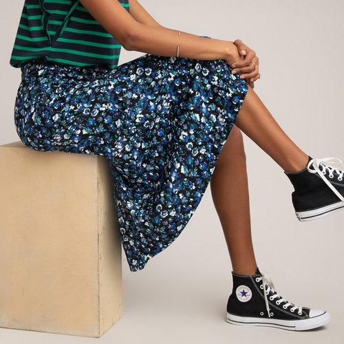 Μακριά ζακάρ φούστα - Φούστες - BLUE FLORAL PRINT