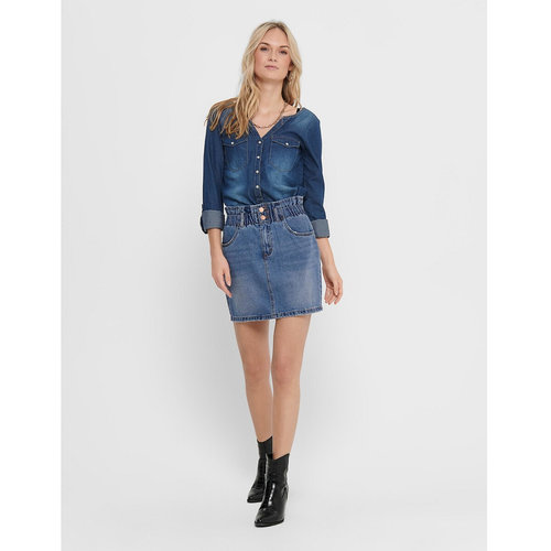 Ψηλόμεση κοντή τζιν φούστα - Φούστες - MEDIUM BLUE