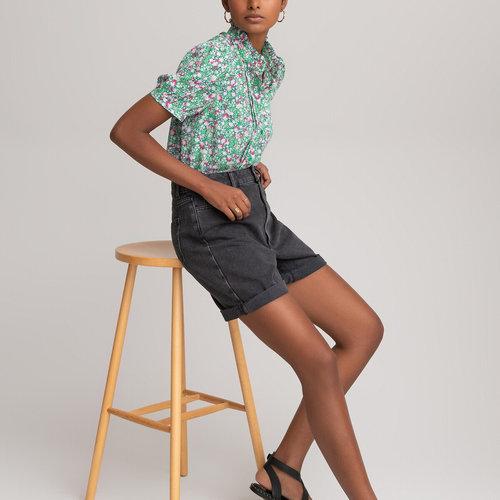 Κοντομάνικο εμπριμέ πουκάμισο με όρθιο λαιμό - Μπλούζες & Πουκάμισα - ΤΥΠΩΜΕΝΟ ΣΕ ΠΡΑΣΙΝΟ ΦΟΝΤΟ