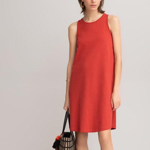 Ριχτό αμάνικο φόρεμα - Φορέματα - ΚΟΚΚΙΝΟ/ΚΕΡΑΜΙΔΙ