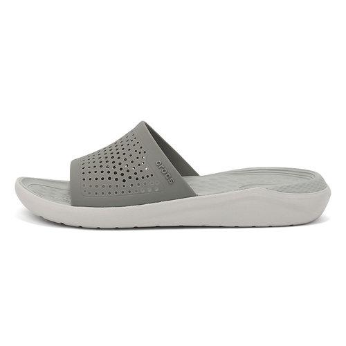 Crocs LiteRide Slide - Σαγιονάρες - SMOKE/PEARL WHITE