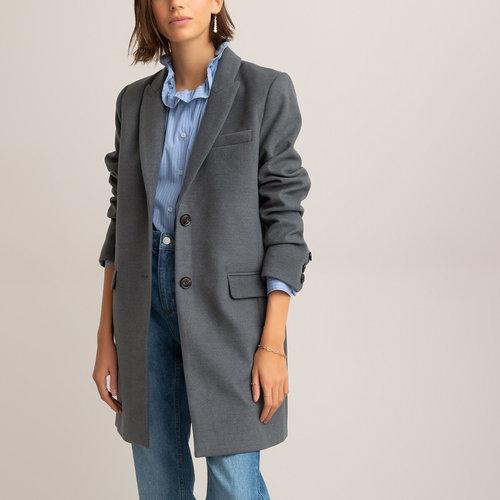 Μίντι παλτό με κουμπιά - Πανωφόρια - ΓΚΡΙ ΣΚΟΥΡΟ