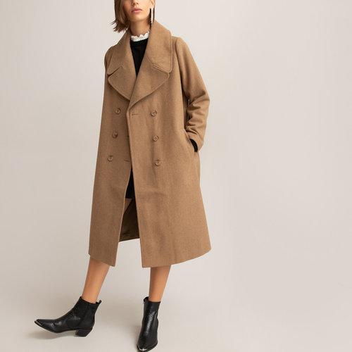 Μακρύ παλτό με διπλό κούμπωμα - Πανωφόρια - ΚΑΜΗΛΟ