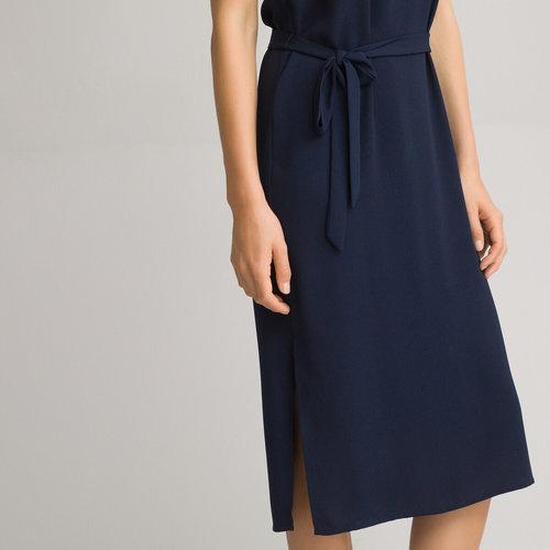 Αμάνικο φόρεμα σε ίσια γραμμή - Φορέματα - ΣΚΟΥΡΟ ΜΠΛΕ
