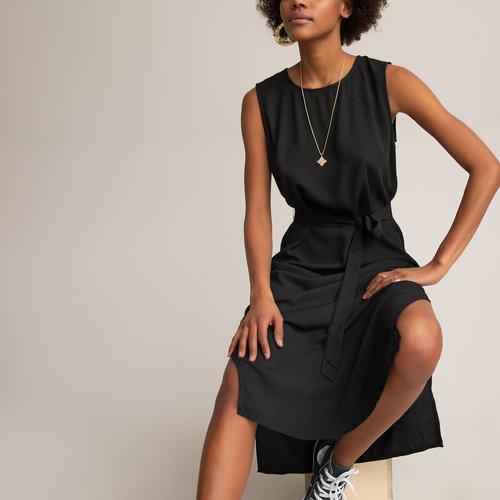 Αμάνικο φόρεμα σε ίσια γραμμή - Φορέματα - ΜΑΥΡΟ