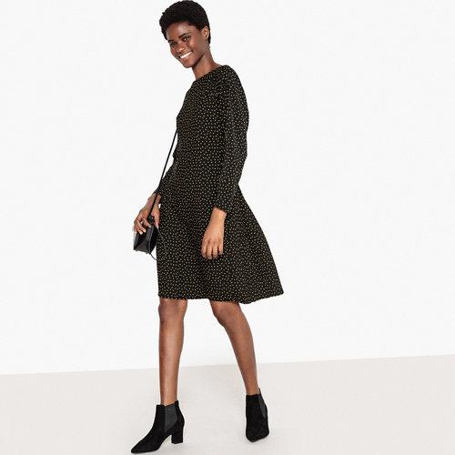 Φόρεμα με πλισέ πλάτη - Φορέματα - POLKA DOT PRINT/BLACK BACKGROUND