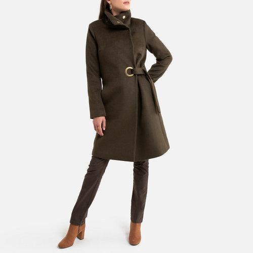Παλτό με ψηλό γιακά - Πανωφόρια - ΛΑΔΙ_ΠΡΑΣΙΝΟ