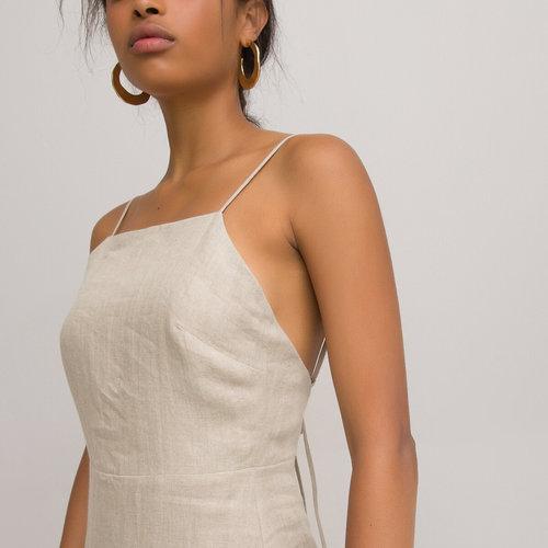 Λινό φόρεμα με λεπτές τιράντες - Φορέματα - ΜΠΕΖ