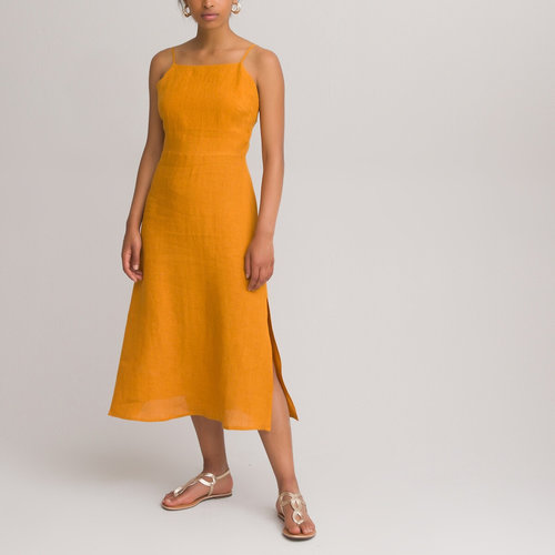 Λινό φόρεμα με λεπτές τιράντες - Φορέματα - ΩΧΡΑ