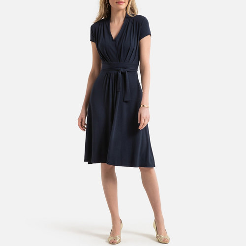 Draping A-Line Dress - Φορέματα - ΝΑΥΤΙΚΟ_ΜΠΛΕ