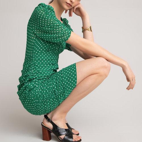Κοντομάνικο φόρεμα - Φορέματα - GREEN POLKA DOT PRINT