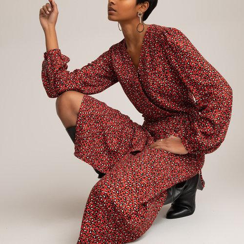 Μακρύ κρουαζέ φόρεμα - Φορέματα - PRINT/RED BACKGROUND