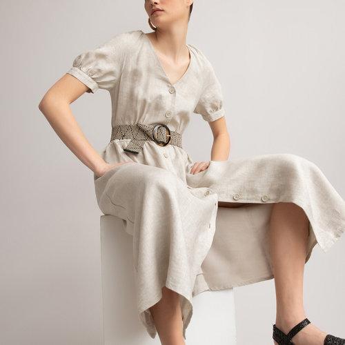 Μακρύ λινό φόρεμα - Φορέματα - ΑΝΟΙΧΤΟ ΜΠΕΖ