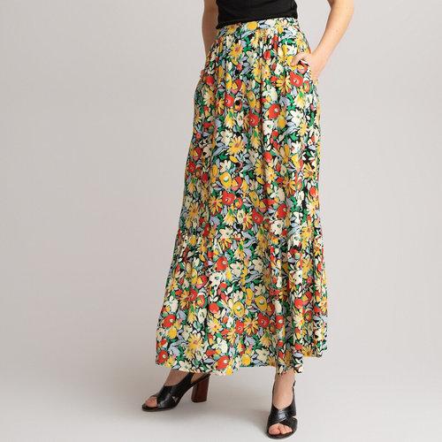 Μακριά φλοράλ φούστα με βολάν - Φούστες - MULTI-COLOURED FLORAL PRINT