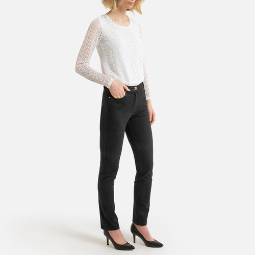 Ίσιο βαμβακερό παντελόνι - ΓΥΝΑΙΚΑ - ΜΑΥΡΟ